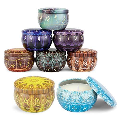 peinat 8 Stück Duftkerzen Set, Aromatisch Kerzen, Natürliches Sojawachs Kerze mit 8 Verschiedenen Arten von Aroma Für Romantische Oder Warme Atmosphäre zu Hause, zu Besonderen Anlässen Oder Im Büro