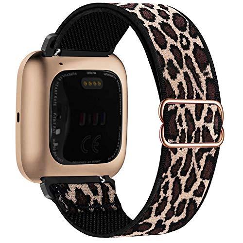 Fengyiyuda Elástico Nylon Correa de Reloj Compatible con Fitbit Versa 2/Versa/Versa Lite/Versa SE,Bandas Suaves para Relojes Inteligentes, Seporte Hebillas Ajustables,correas de repuesto,Lepoard