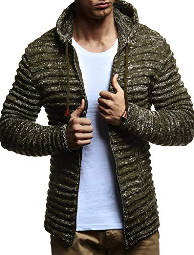 Leif Nelson LN20724 Men's Knit Jacket with Hood Knitt Zip Up Cardigan Hoodie; Size XXL, Khaki
