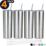 SKINNY TUMBLERS (4 pack) 20oz Stainless Steel Double Wall Insulated Tumblers with Lids and Straws | -Wall Insulated Mug Iced Coffee Cup Travel Tumbler Reusable Water Bottle for Tea, Smoothies (Silver)