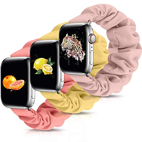 OWUSHEE Scrunchie Watch Band Compatible with Apple Watch Band 38mm 40mm 42mm 44mm Scrunchy Elastic Band for iWatch Series 6 SE 5 4 3 2 1 (Pink Sand+Lemon Cream+Grapefruit-38mm/40mm S)