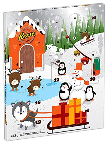 REESES Holiday Advent Calendar with Peanut Butter Chocolate Candy, Gift, 222-Gram
