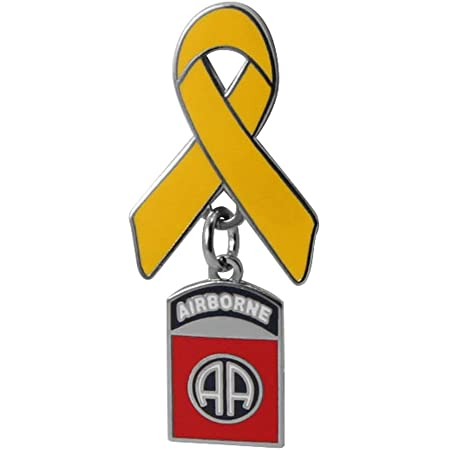 Yellow Ribbon with 82ND Airborne Division Charm Lapel Pin