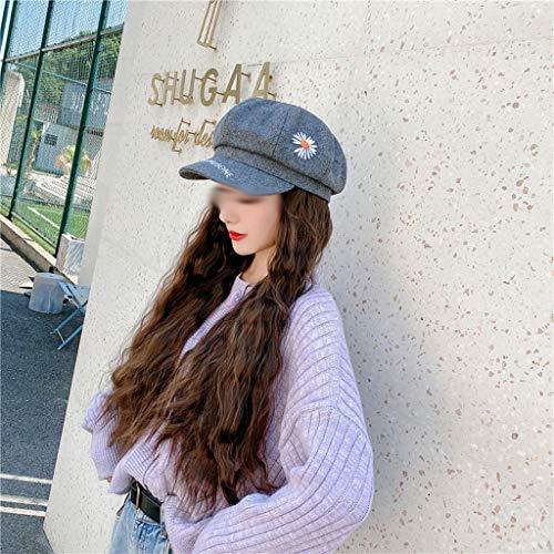 FKSDHDG Sombrero con extensión de peluca de maíz sintético pelo alto cola de caballo largo rizado accesorio de cabeza esponjosa peluca para mujeres (color: gris claro+marrón té)
