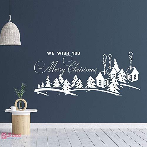 Weihnachten Winter Dorf Wandaufkleber, Winter Dorf Landschaft Schneeflocke Wandaufkleber für Shop Dekoration Weihnachtsfest Vinyl Kunst Fensteraufkleber