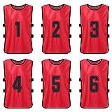 Lixada 6/12 Piezas Adulto/Niños Chaleco Deportivo de Práctica de Número de Camiseta de Fútbol de Secado Rápido de Manga Corta de Fútbol