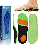 ENERFOOT Plantar Fasciitis Arch Support Insoles for Men and Women Shoe Inserts - Orthotic Inserts - Flat Foot - Running Athletic Gel Shoe Insoles (M: Mens 8.5-10 / Womens 9.5-11, Green Breathable)
