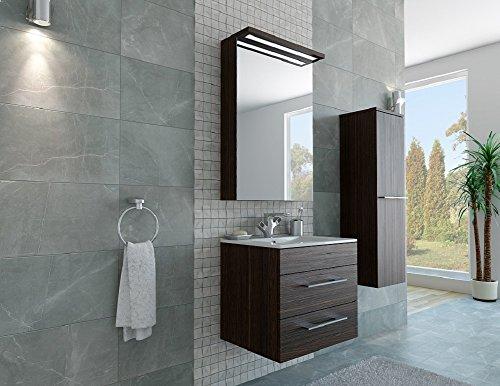 Design badkamermeubel hoge kast + spiegelkast + onderkast + wastafel 60 cm in de kleur bruin/donkerbruin/LED/soft-close/montageklaar/Made in Germany