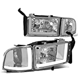 Replacement for 94-02 Dodge Ram 1500/2500/3500 Pair Chrome Housing Clear Corner LED DRL Headlight/Lamps