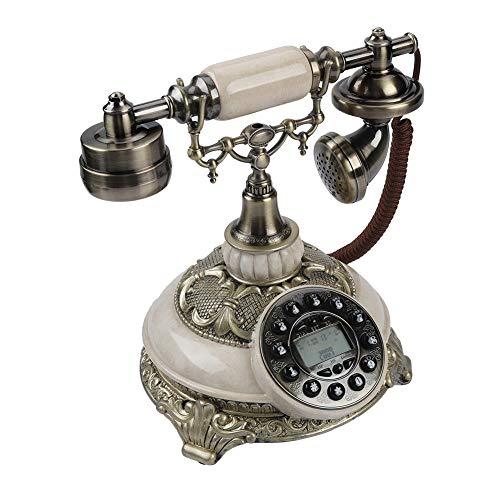 FSK/DTMF Teléfono Fijo de Estilo Antiguo Retro, Teléfono Doméstico con Cable con Pantalla de Visualización, Telefono Antiguo de Rueda para Decoración de Mesa, Estilo Europeo Clásico