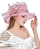ELLYDOOR Women Kentucky Derby Fascinator Hat Organza Church Wedding Hat Wide Brim Cocktail Tea Party Hat Pink