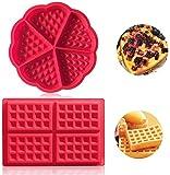 Auzof Stampo per Waffle, Stampo da Forno in Silicone di Alta qualità, a Forma di Mini-Cuore, per Creare Waffle e Muffin