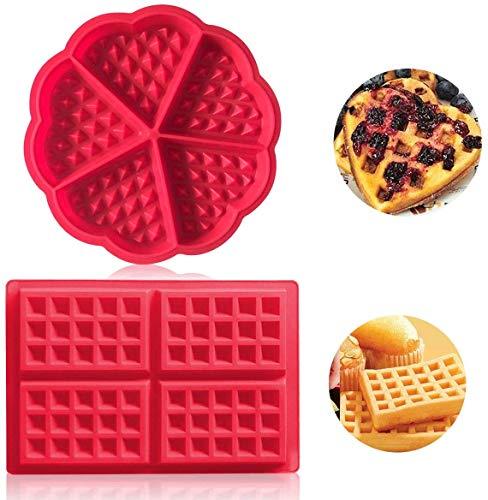 Auzof Stampo per Waffle, Stampo da Forno in Silicone di Alta qualità, a Forma di Mini-Cuore, per...