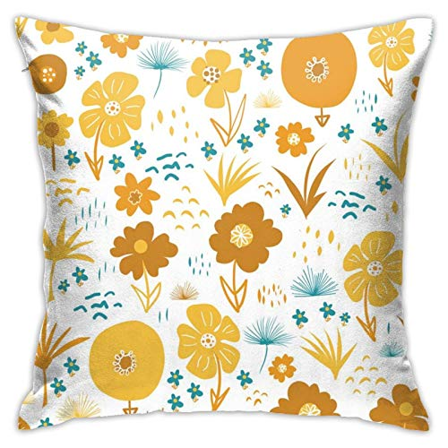 87569dwdsdwd Orange-Yellow-Teal-Autumn-Florals-Scandinavian Throw Pillow Cover Pillow Cases for Home Decor Design Cushion Case for Sofa Bedroom Car 18 X 18 Inch 45 X 45 cm