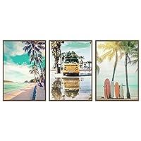 ビーチの風景ポスターヤシココナッツの木ヒトデサーフボード海壁アートパネルプリント北欧のキャンバス絵画インテリアリビングルームの装飾写真40x60cmx3フレームなし