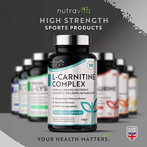 L-Carnitine Complex - High Strength Capsules with Added Riboflavin, Biotin, Chromium, Vitamin D, B3 & B6 - Macronutrient & Energy Yielding Metabolism - 150 Vegan Capsules - Made in the UK by Nutravita