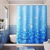 XCBN Bubble Polyester Duschvorhang, ozeanblau wasserdichter Duschvorhang, geeignet für die Badezimmerdekoration, freier Haken A1 180x180cm