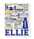 Cheerleading Personalized Typography Print - PrintChicks Cheer Art Poster Decor for Girl's Room Cheerleader Gift
