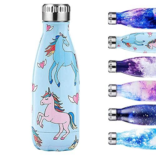 Enlifety Edelstahl Trinkflasche - 350ml Vakuum Trinkflasche - Isolierflasche Wasserflasche BPA-Frei Auslaufsicher - Thermosflasche für Kinder, Sport, Schule, Fitness, Fahrrad, Camping - Einhorn