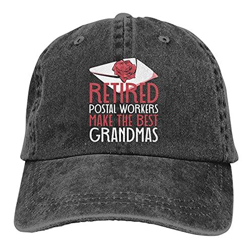 Leumius Los trabajadores postales jubilados hacen los mejores sombreros de las abuelas, unisex vintage gorra de béisbol ajustable clásico sombrero de camionero, Negro, Talla única