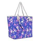 Große Strandtasche mit Reißverschluss 58 x 38 x 18 cm Palmen rosa blau Shopper Schultertasche...