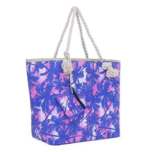 Bolsa de Playa Grande con Cremallera 58 x 38 x 18 cm Palmas Rosa Azul Shopper Bolsa de Hombro Bolsa de Miami Florida