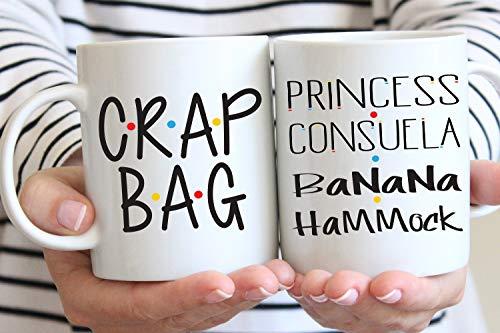 Crap Bag and Princess Consuela Banana Hammock Mug Set, Mr and Mr, His and Hers, Ross and Rachel, Monica and Chandler, Monica to My Rachel