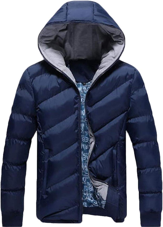 desolateness Men/'s Fashion Winter Packable Down Jacket Hooded Lightweight Puffer Coat Outerwear