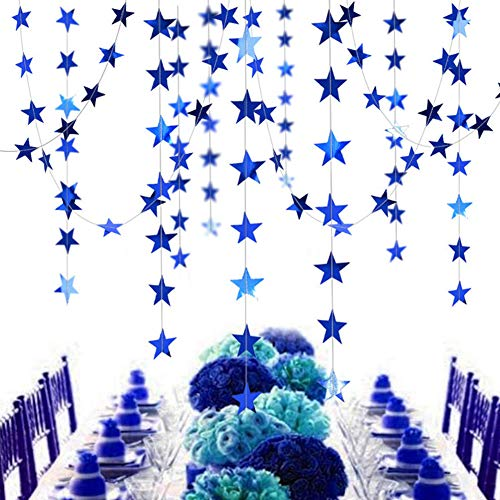 6 Pack Blue Star Garland Glitter Paper Hanging Star Banner Party Decorations for Baby Shower Birthday Wedding Supplies Home Décor