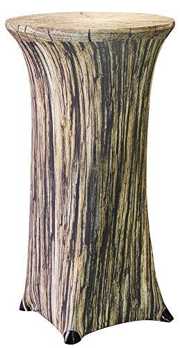 Trendyshop365 Stretch Stehtischhusse für Bistrotisch Ø 60-70cm - Höhe 120cm Elegante Stretchhusse als Tisch-Überzug (Baumstamm)