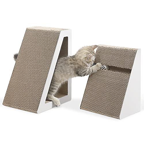 PETTOM 2 Stück Kratzbretter Katze, Kratzpappe für Katzen Groß, Katzen Kratzmöbel Pappe, Katzenspielzeug wellpappe mit Glocken