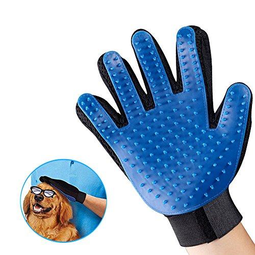 Guante de aseo para mascotas, suave cepillo de deshedding guante – Eficiente herramienta de masaje para el pelo de mascotas con cinco dedos mejorados, perfecto para perros gatos de pelo largo/corto