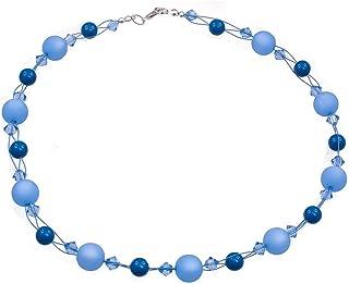 Zierliche Damen Perlenkette Blau glänzend Silberfarbig Collierkette kurz  40 cm