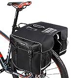 BAIGIO Alforjas para Portaequipajes de Bicicleta, Bolsas Alforjas Traseras Grande para Bicicletas MTB Bicicleta Carretera Bolsa de Ciclismo con Doble Bolsa Lateral para Asiento Trasero (Negro)