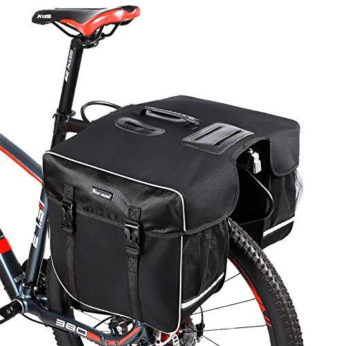 BAIGIO Fahrrad Gepäckträgertasche 30L Wasserdicht Doppel Fahrradtasche Hinterradtasche für MTB Rennrad Faltrad mit Regenhülle (Schwarz)