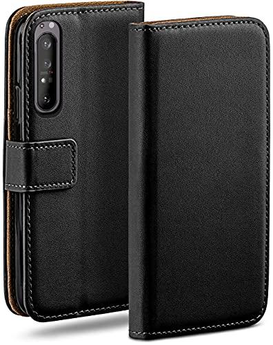 moex Klapphülle für Sony Xperia 1 II Hülle klappbar, Handyhülle mit Kartenfach, 360 Grad Schutzhülle zum klappen, Flip Hülle Book Cover, Vegan Leder Handytasche, Schwarz