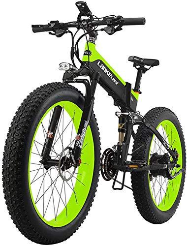 Bicicletta Elettrica Pieghevole 1000W/500W 40km/h Ruote Larghe 26 x 4 Pollici per Adulti Mountain Bike in Alluminio Batteria Rimovibile SHIMANO 27S Bici da Spiaggia Neve All-terrain [EU Stock]