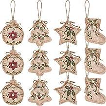 Gesh 12 stuks kerst jute boom ornamenten opknoping decoraties kerst kous boom bal vormige decor voor kerstfeest, 4 stijlen...
