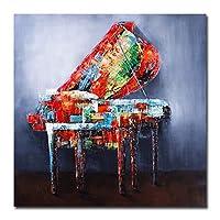 楽器キャンバスポスタープリントピアノ壁アート絵画装飾写真家の装飾-80x80cmx1フレームなし