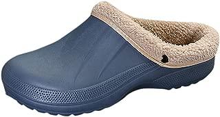 FarJing Waterproof Slippers Women Men Fur Lined Clogs Winter Garden Shoes Warm House Slippers Indoor Outdoor Mules