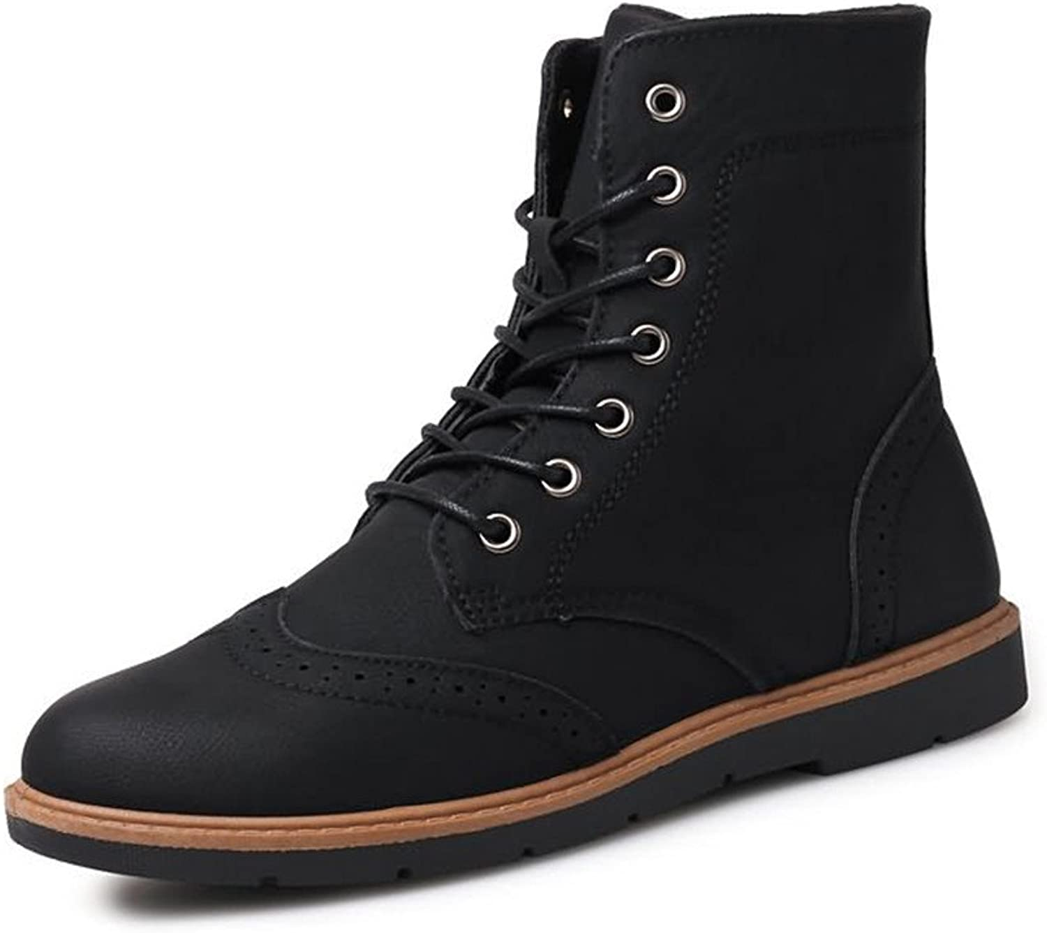 Men's Martin Boots Casual Inside Zip Front Laces with Cool Autumn Winter High Top Rider shoes Cricket shoes