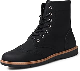 Sunny&Baby Men's Martin Boots Casual Inside Zip Front Laces with Cool Autumn/Winter High Top Rider Shoes Durable