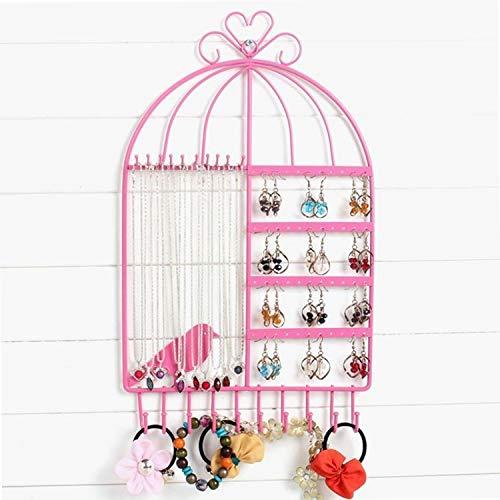 NoBrand Oreilles Boucles d'oreilles Bracelet Birdcage Collier Pendentif Bijoux D'affichage Support De Rangement,ZhongsFa (Color : Pink)
