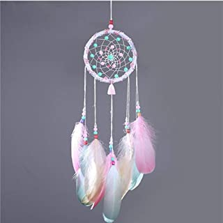 Boho Pink Dream Catcher Beaded Colorful Natural Feathers And Handmade Beaded Weave Web Come With Kraft Gift Bag Teen-girls...