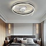 Ventilador de Techo con Luz Lámpara LED 40W Ventilador Invisible App Control con Mando a Distancia Luz Regulable Luz Fría/Neutra/Cálida Φ50*H14cm Decoración de Interiores Plafón de Techo lluminación