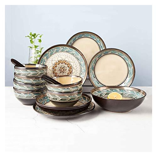 Platos de comida Juego de vajillas de cerámica de la vendimia Cocina para el hogar de 18 piezas Conjunto de placas de cena en relieve creativo, servicio para 6, esmalte reactivo Platos de cena pequeño