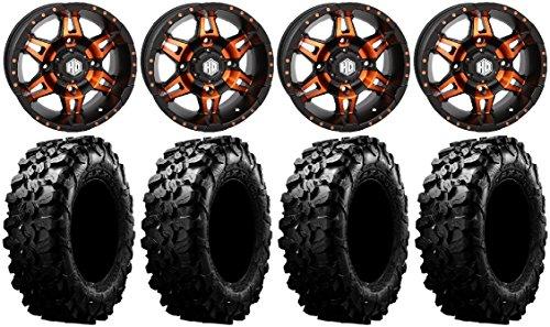 Bundle - 9 Items: STI HD7 14' Wheels Orange/Black 32' Carnivore Tires [4x156 Bolt Pattern 12mmx1.5 Lug Kit]