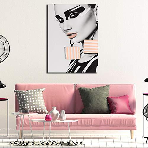 ganlanshu Frau mit Buntem Gesichtsölgemälde auf modernem Plakat für Wohnzimmerwandkunst,Rahmenlose Malerei,50X75cm