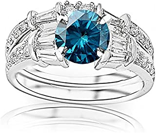 2.83 Carat t.w 14K White Gold Baguette And Round Brilliant Diamond Engagement Ring and Wedding Band Set w/a 2 Carat Round Cut Blue Diamond Heirloom Quality