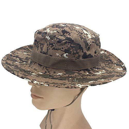 XCWXM Safari Cubo Sombrero Sombrero Hombres Panamá pescando algodón al Aire Libre Unisex Mujer Verano cazando Protector Solar Sombrero ejército desértico Camuflaje